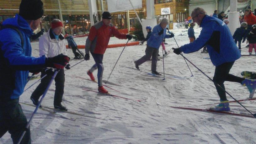 hou de punt van je ski aan de grond
