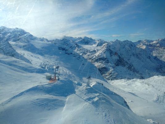 Blik op de gletsjer vanuit de lift