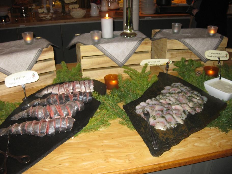 Diverse vissoorten bij het koude buffet
